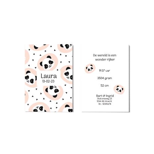 Geboortekaartje met panda ontwerp voor en achter