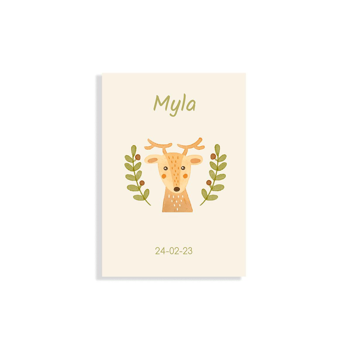 Geboortekaartje met getekend hertje voorzijde