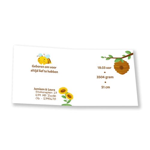 Geboortekaartje met bijtje en honingpot binnenkant