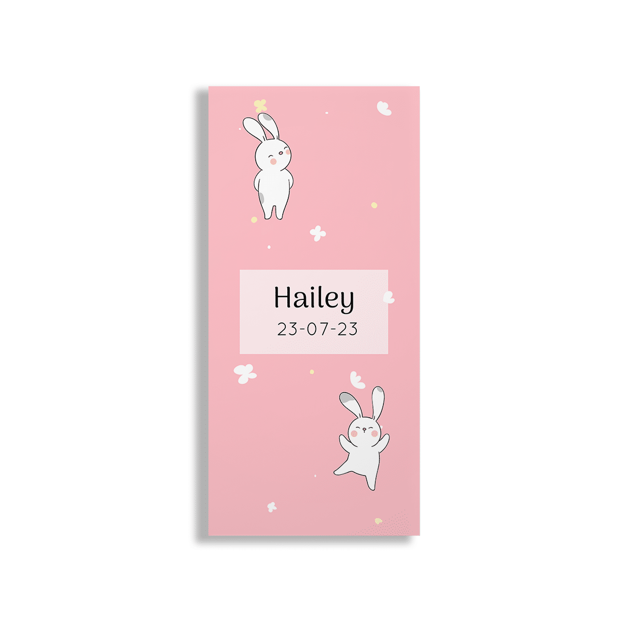 Hip geboortekaartje met schattige konijnen voorzijde