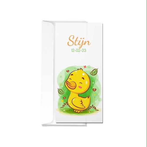 Geboortekaartje met schattig eendje met envelop