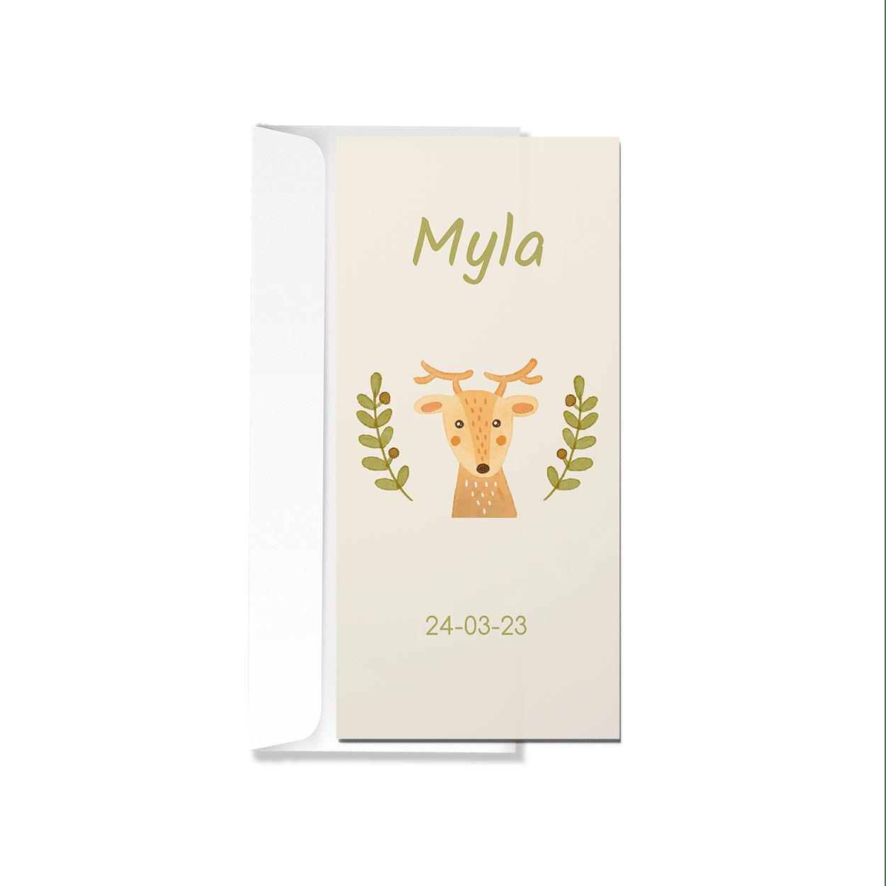 Geboortekaartje met getekend hertje met envelop