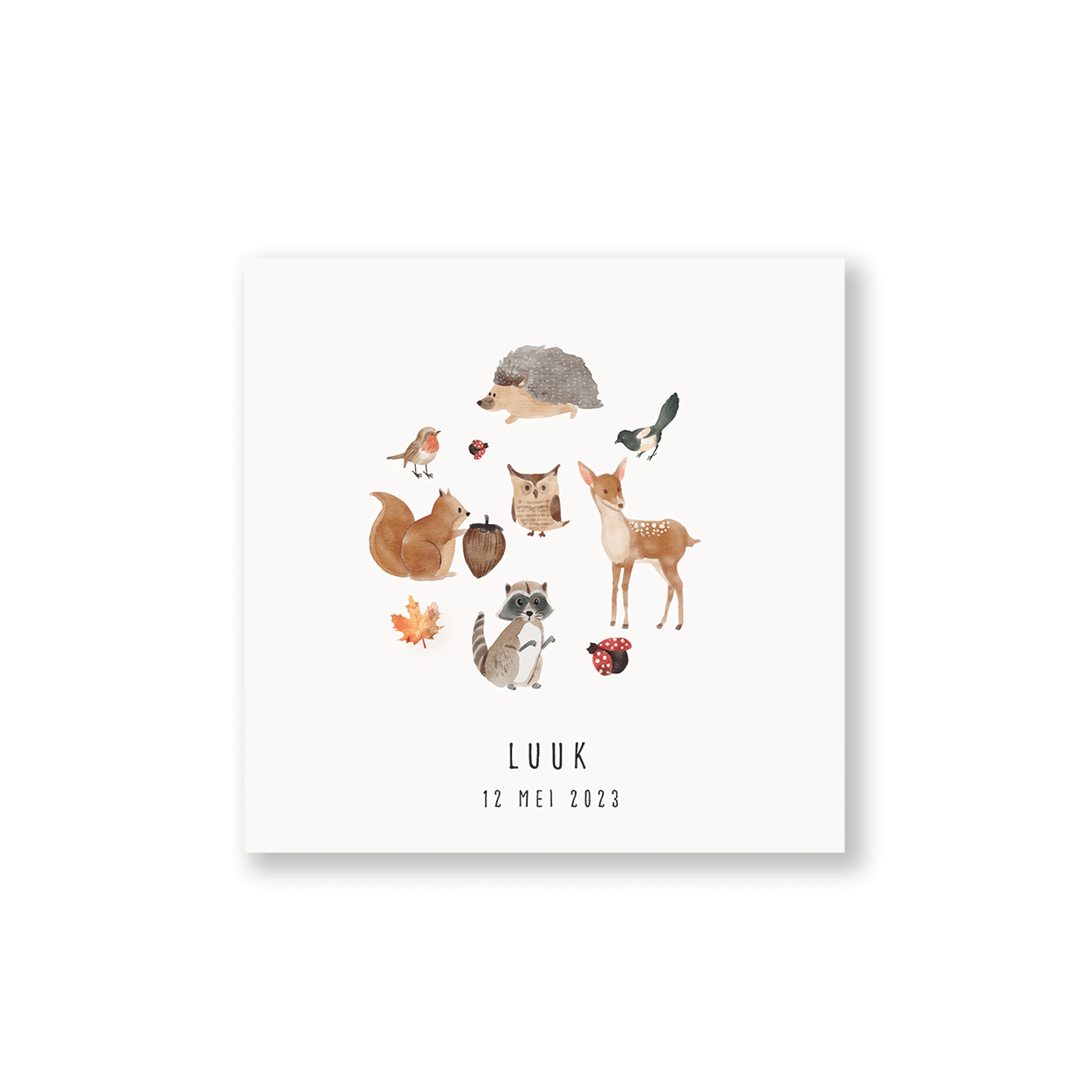 Vierkant kaartje bosdieren voorzijde