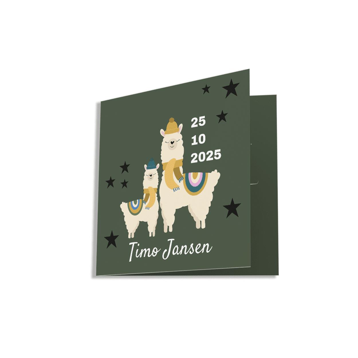 Stoer vierkant geboortekaartje lama met sterren groen